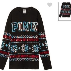 VS PINK CAMPUS BLING SEQUINS LOUNGE HOLIDAY TEE